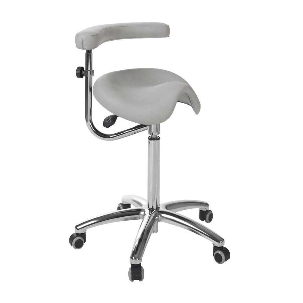 tabouret ergonomique avec dossier base chrom e s 5673 avec accoudoirs. Black Bedroom Furniture Sets. Home Design Ideas