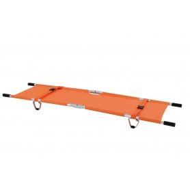 Brancard pliant en 4 sur la longueur et la largeur, avec housse, orange