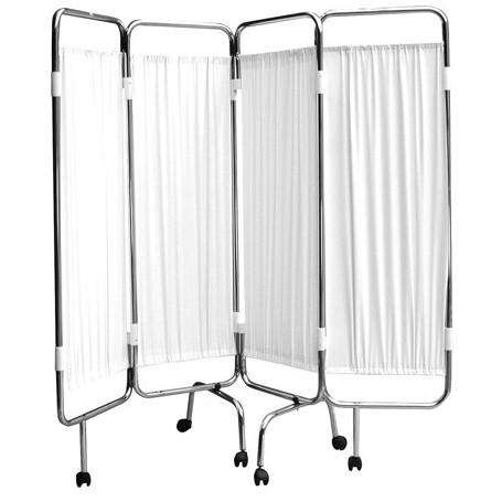 paravent 4 panneaux chrome roulettes blanc bas prix chez. Black Bedroom Furniture Sets. Home Design Ideas
