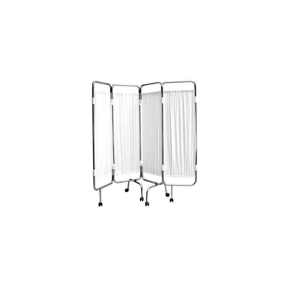 paravent 4 panneaux chrome roulettes blanc bas prix chez toomed. Black Bedroom Furniture Sets. Home Design Ideas