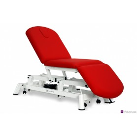 Table électrique en 3 plans avec bouchon facial et roulettes escamotables